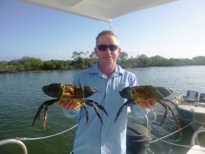 Eric with a couple of great mud crabs.